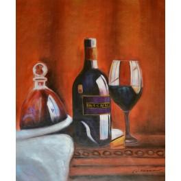 Натюрморт с бутилкa вино, чаша и гарафа