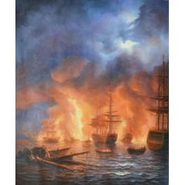 Битката за Чешме нощем, 1856 г., Иван Айвазовски