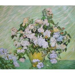 Ваза с розови рози, 1890 г., Винсент Ван Гог