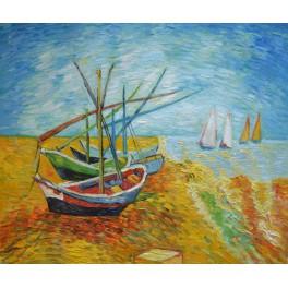 Рибарски лодки на брега на Сен Мер, 1888г. , Винсент Ван Гог