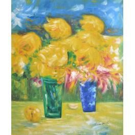Жълти цветя с ябълка