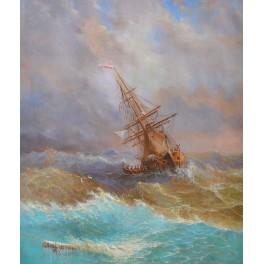 Кораб в бурното море, 1887 г., Иван Айвазовски
