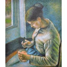 Младо момиче си прави кафе, 1881 г., Камий Писаро