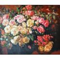 Натюрморт с бели и розови рози, Франц Бисхоф