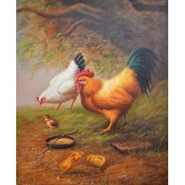 Петел и кокошка с пиленца