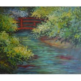 Японският мост пролет, интерпретация по Моне