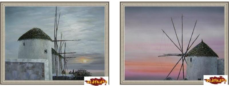 Картини Вятърни мелници със сребриста рамка